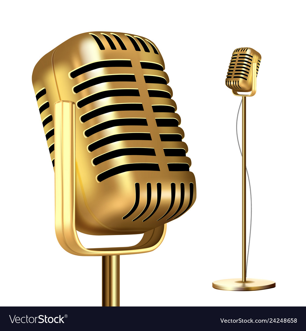 Retro golden microphone with stand record