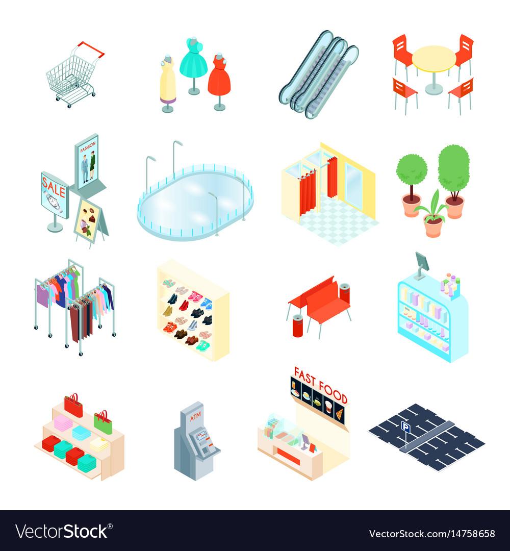 Shopping mall isometric icons set