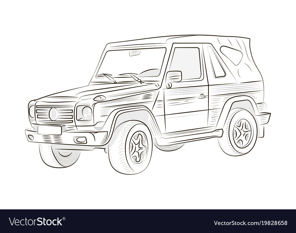 Sketch of a car on a white background Royalty Free Vector