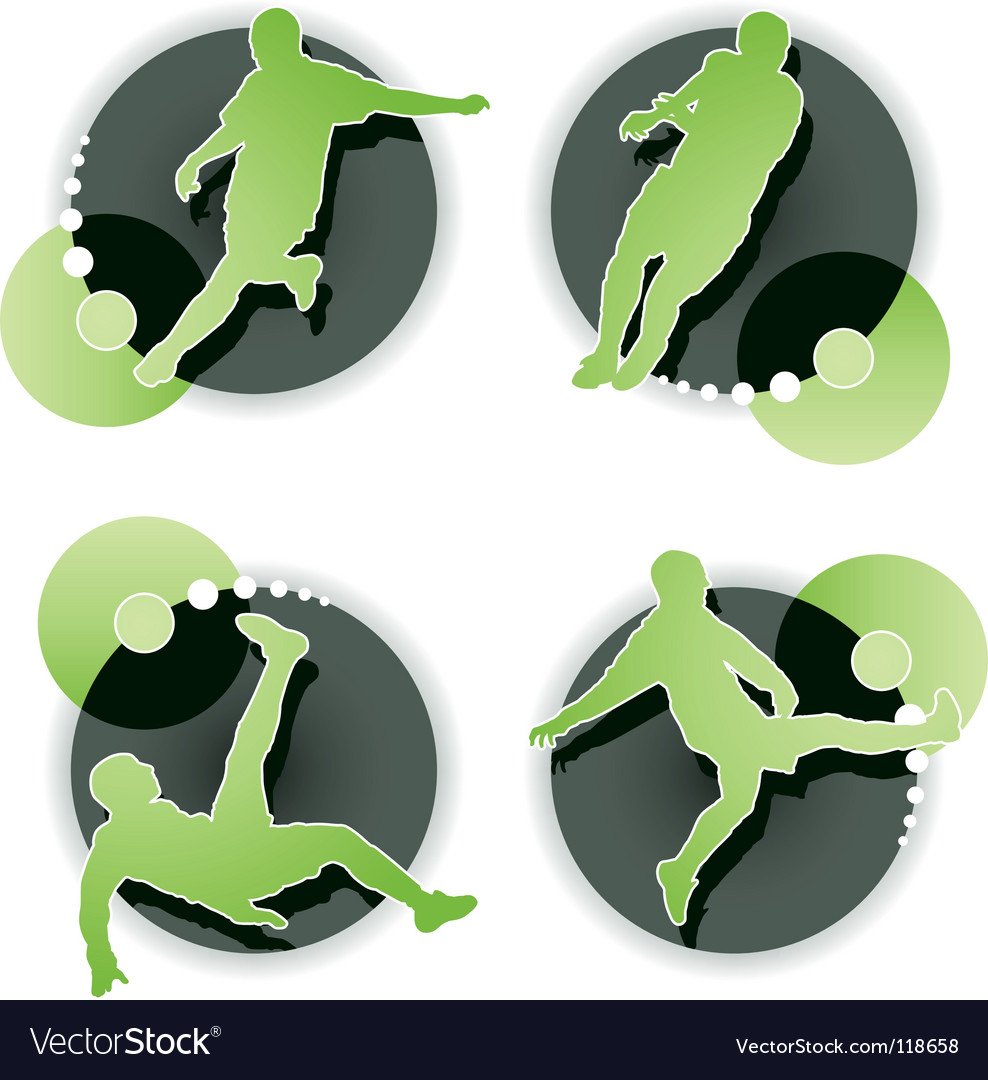 Soccer player set isolated vector image
