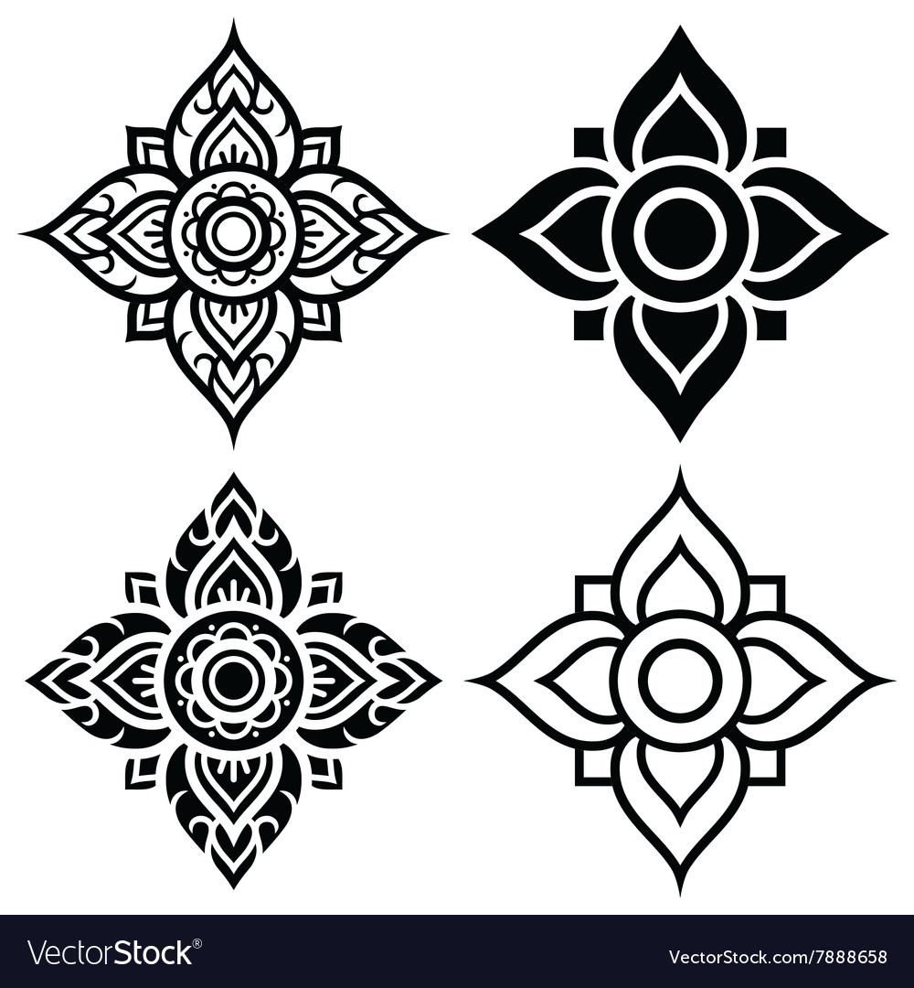 Thai folk art pattern - flower shape