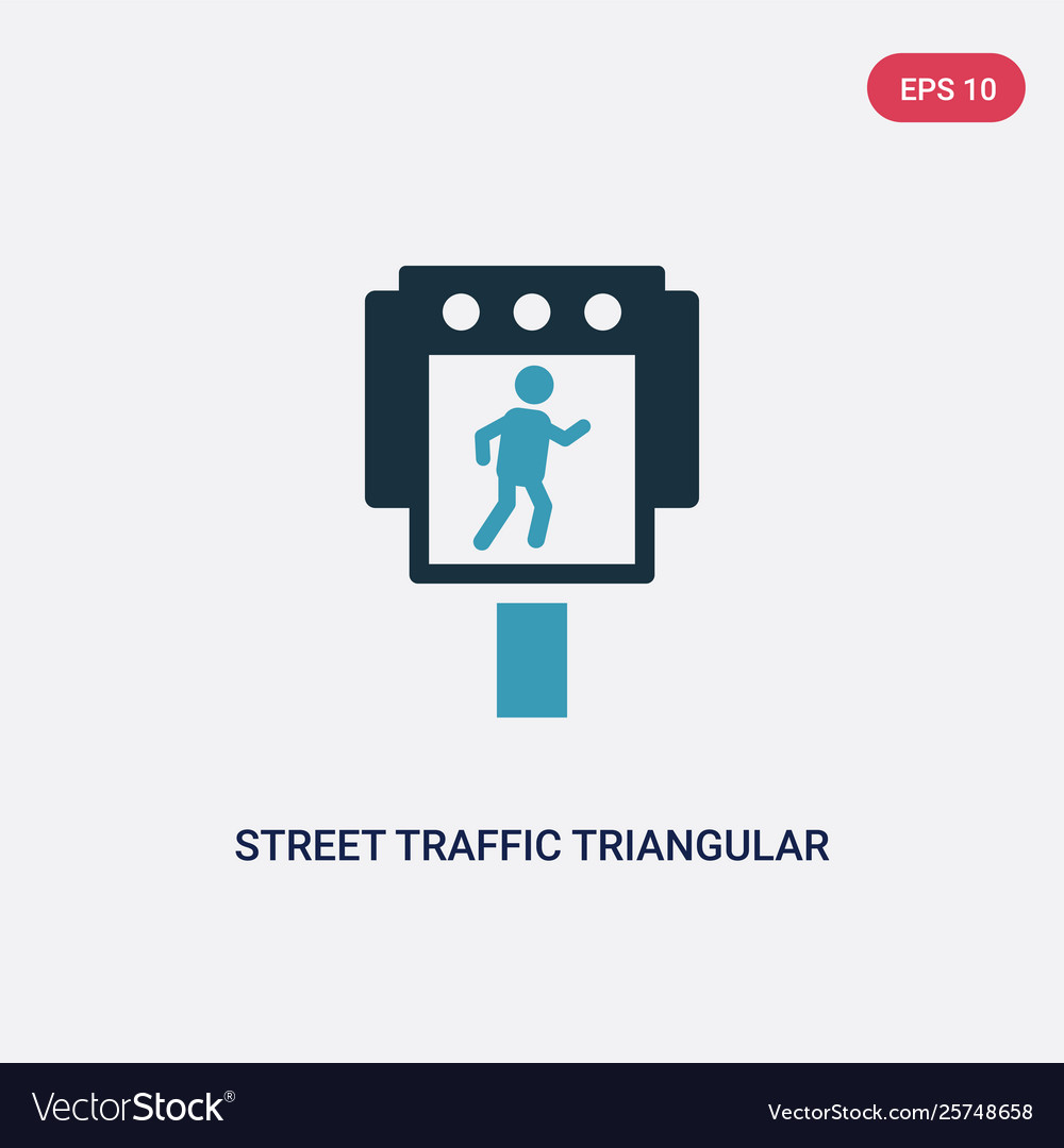 Two Color Street Traffic Triangular Icon From