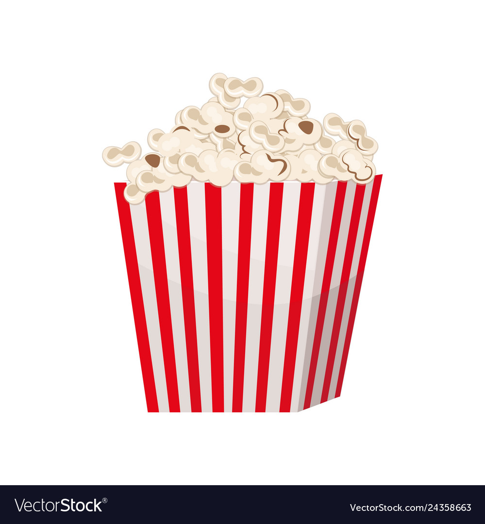 Biggest Full Red And White Striped Popcorn Bucket Vector Image