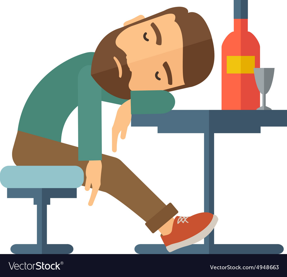 Drunk Man Fall Asleep In The Pub Royalty Free Vector Image