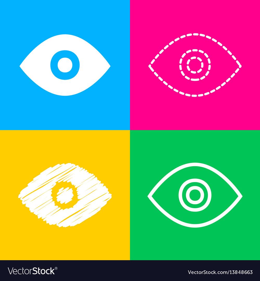 Eye sign four styles of icon on four