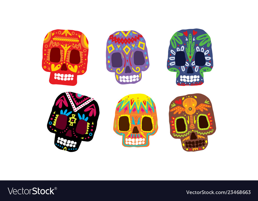 Mexican sugar skulls set day dead colorful