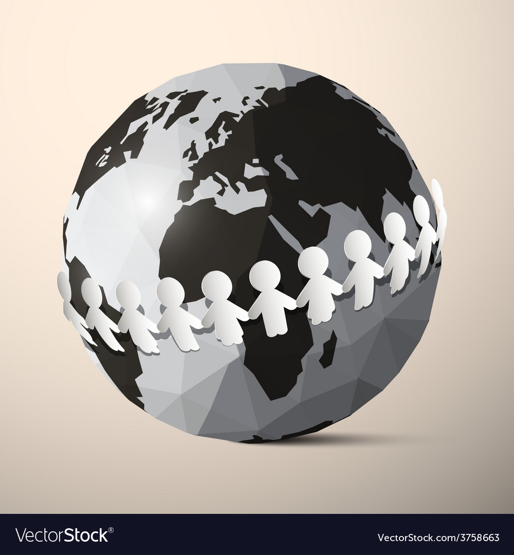 Paper People Holding Hands around Globe - Earth