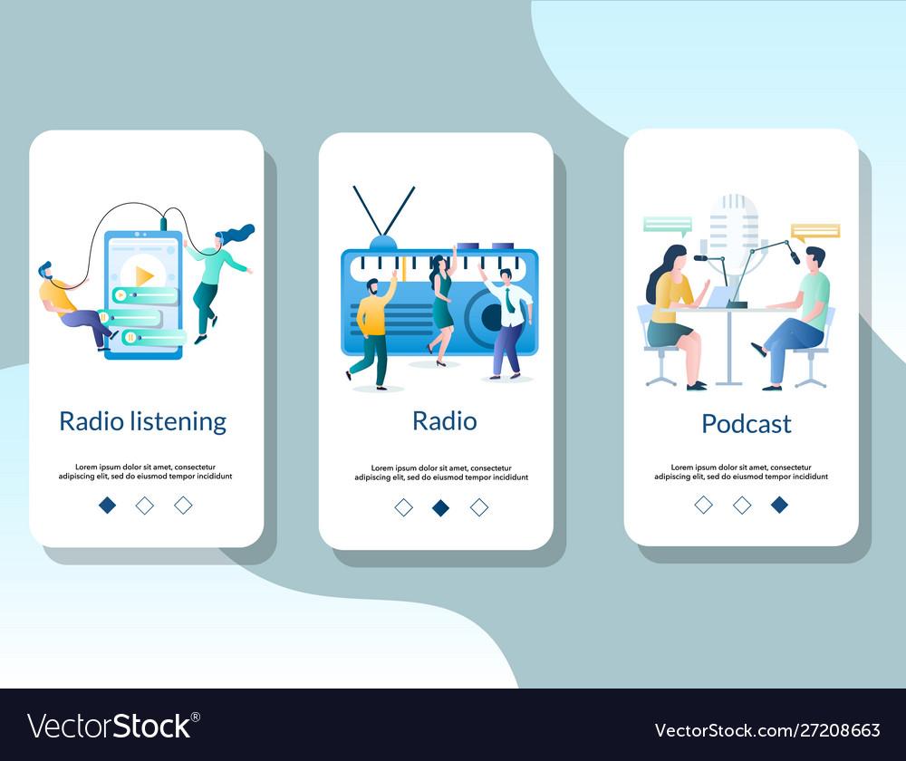 Radio online mobile app onboarding screens