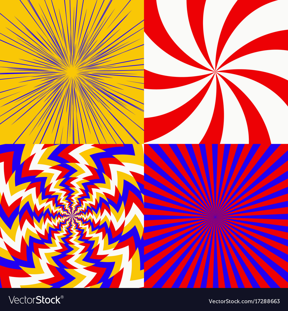Set of psychedelic spiral
