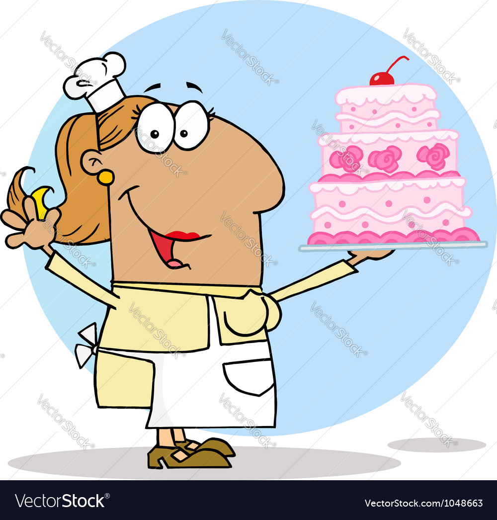 Tan Cartoon Cake Maker Woman vector image