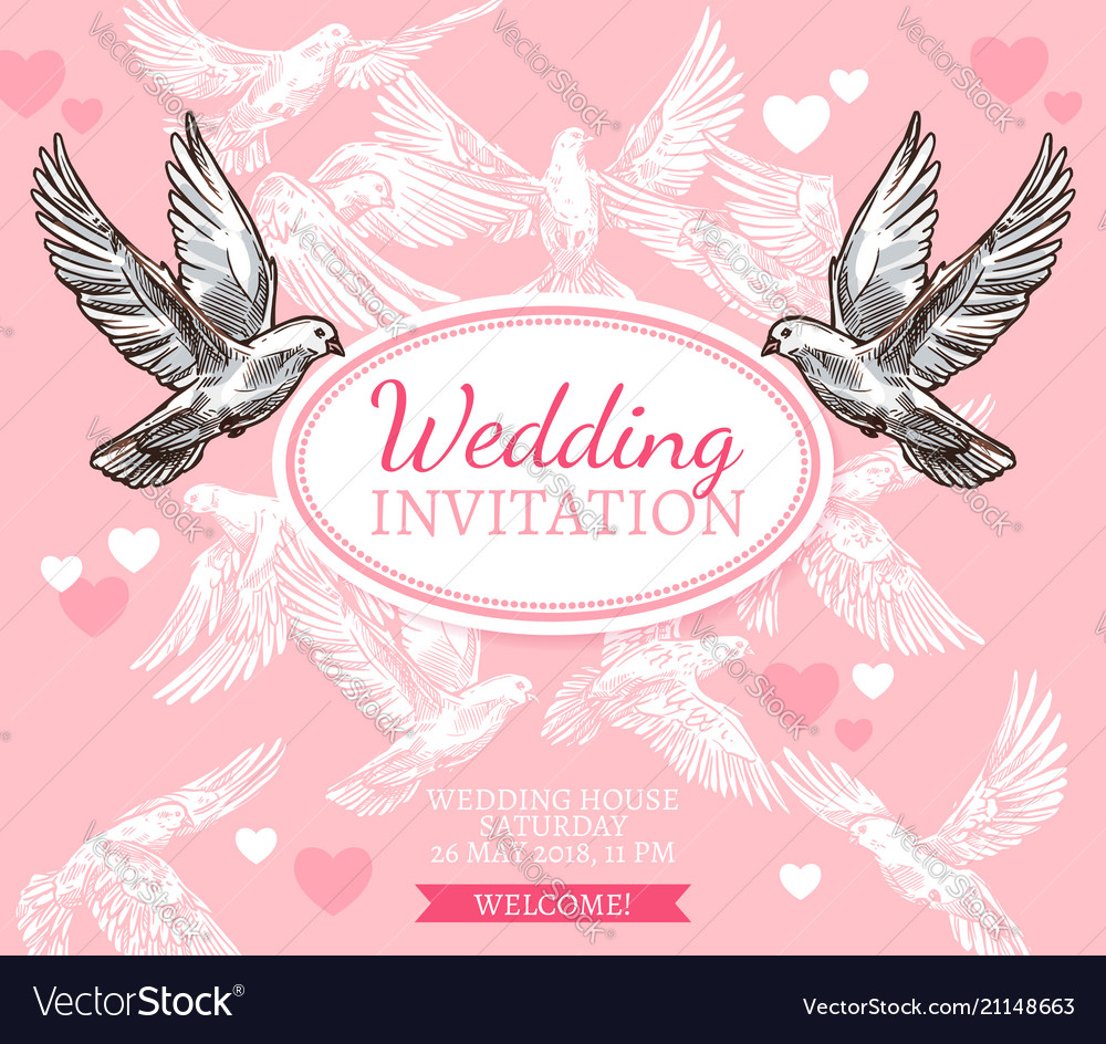 White dove sketch poster of wedding invitation Vector Image