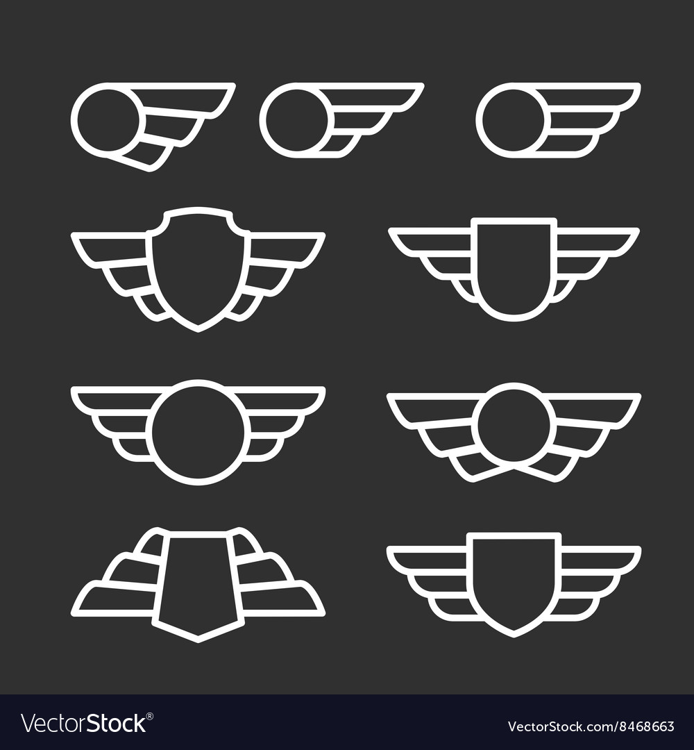 Winged badges and emblems in simple style vector image