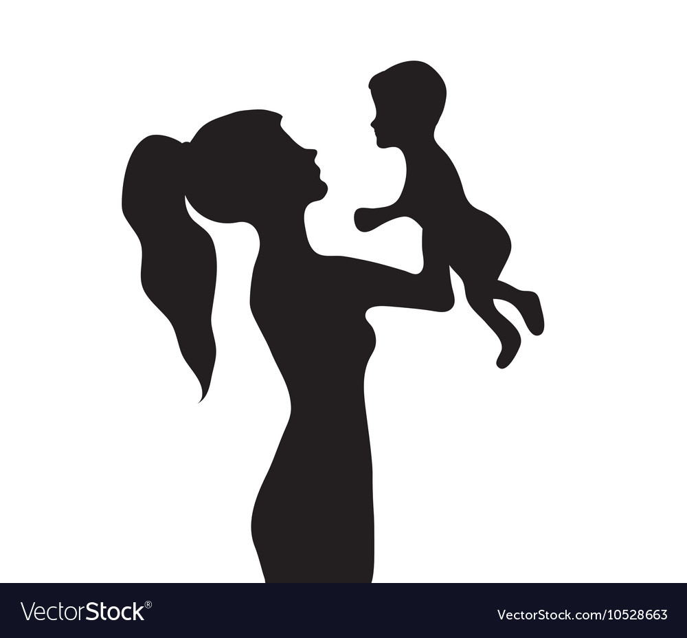 Woman with a baby silhouette Girl holding baby