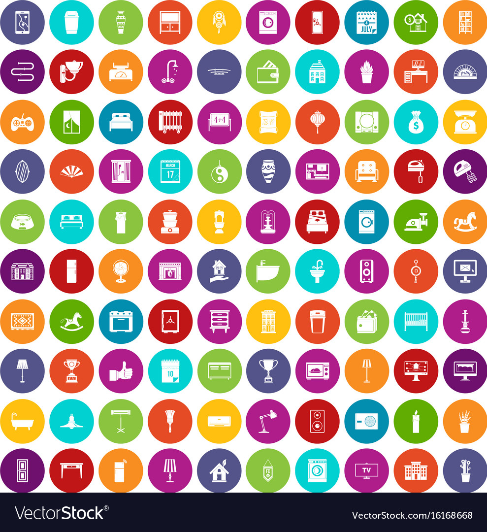 100 interior icons set color vector image
