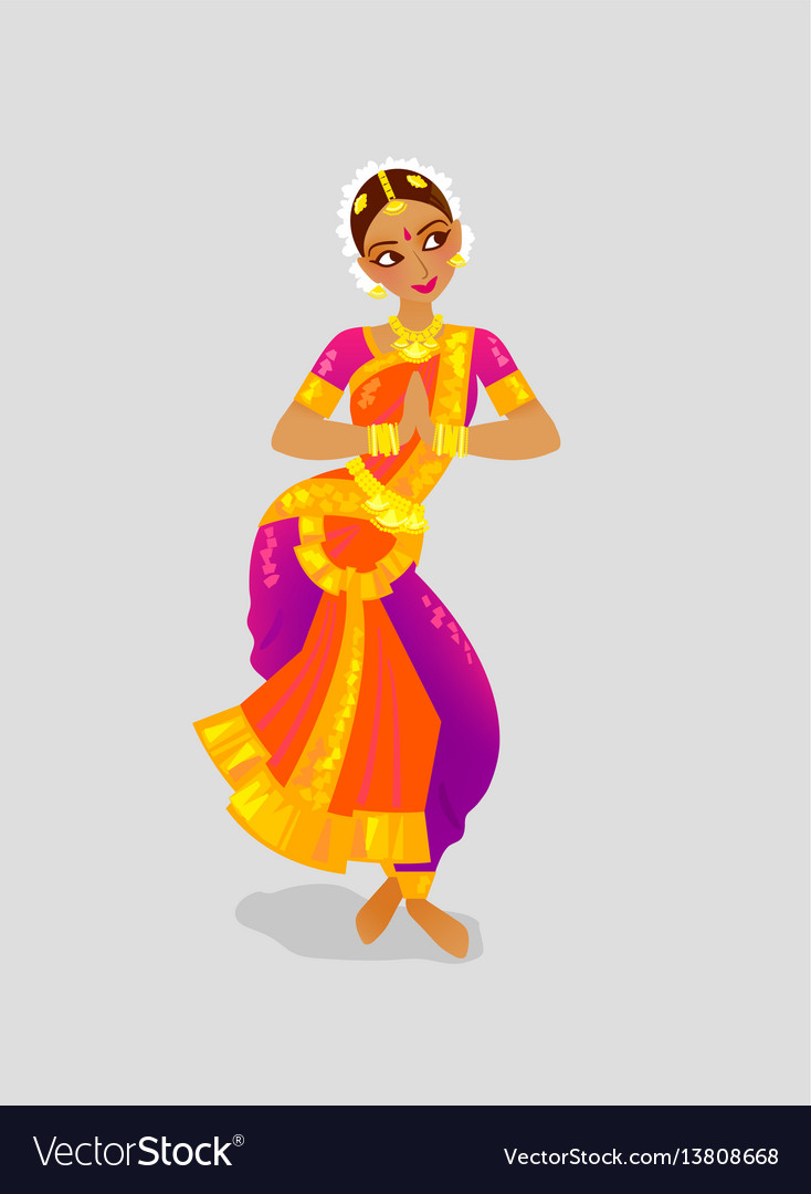 A woman dancing indian dance in