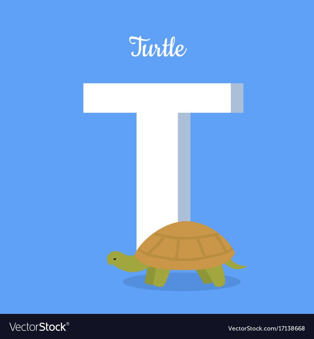 Animals alphabet letter - t