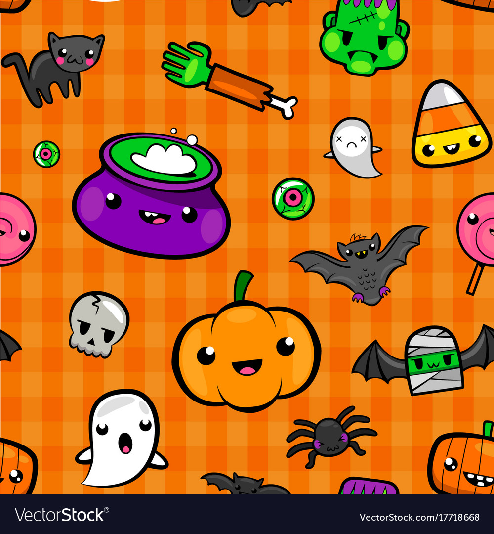 Cute Seamless Halloween Background Royalty Free Vector Image