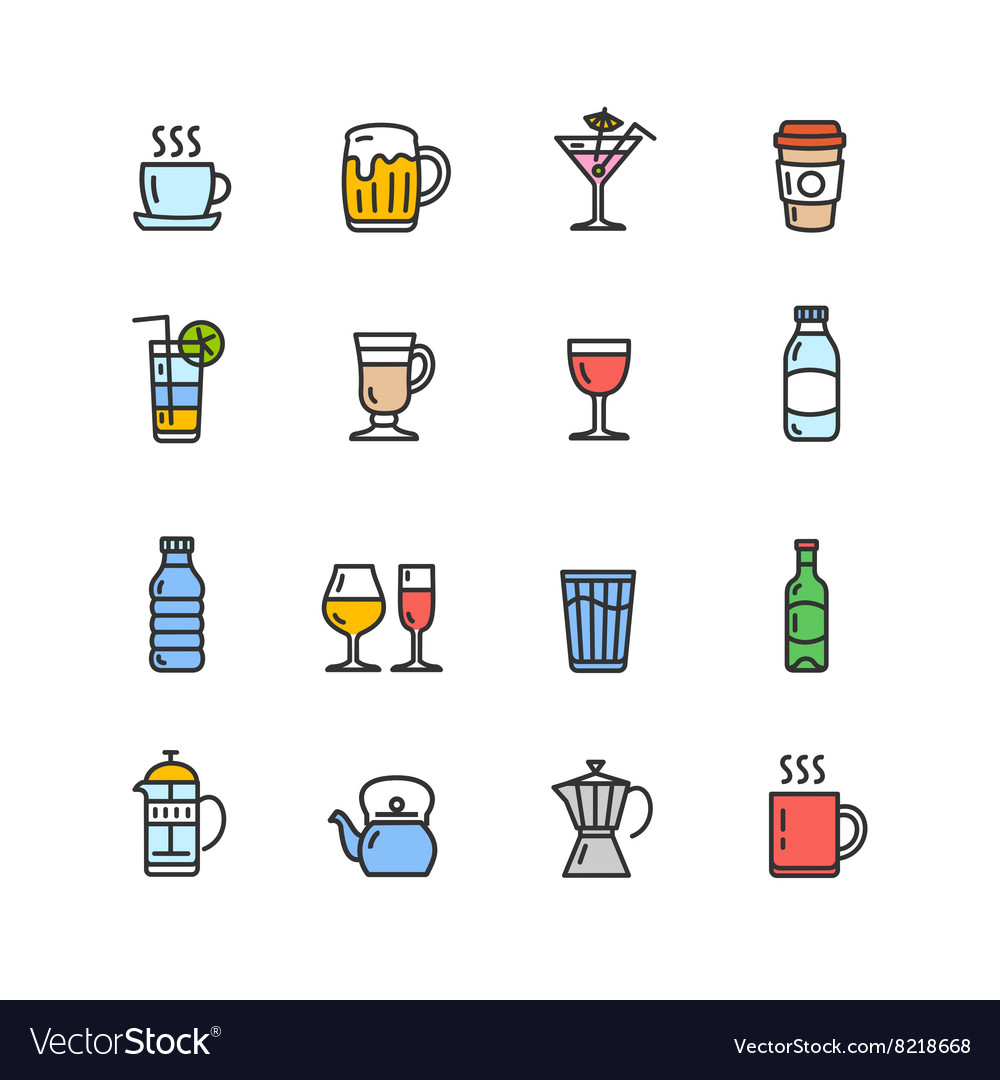 Drink Alcohol Beverage and Coffee Tea Icons