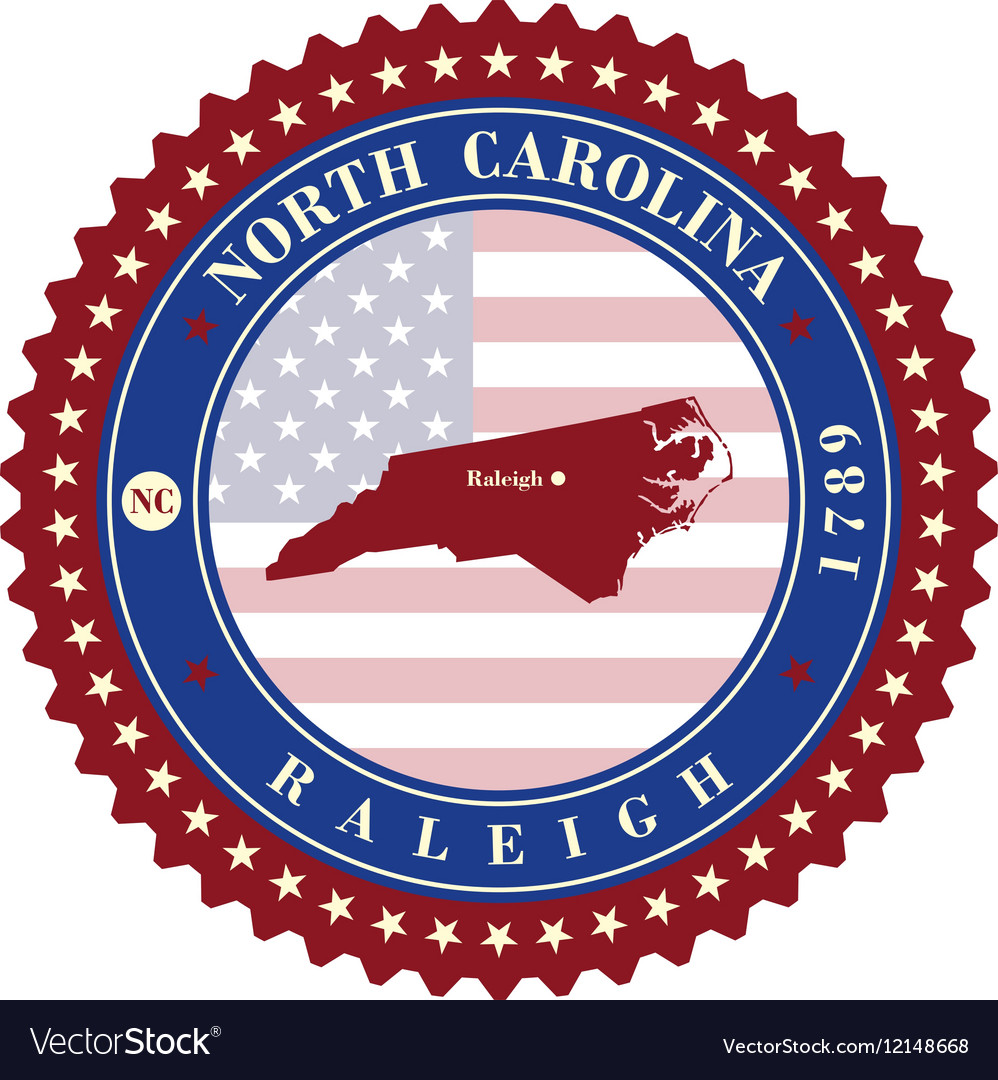 Label sticker cards of State North Carolina USA