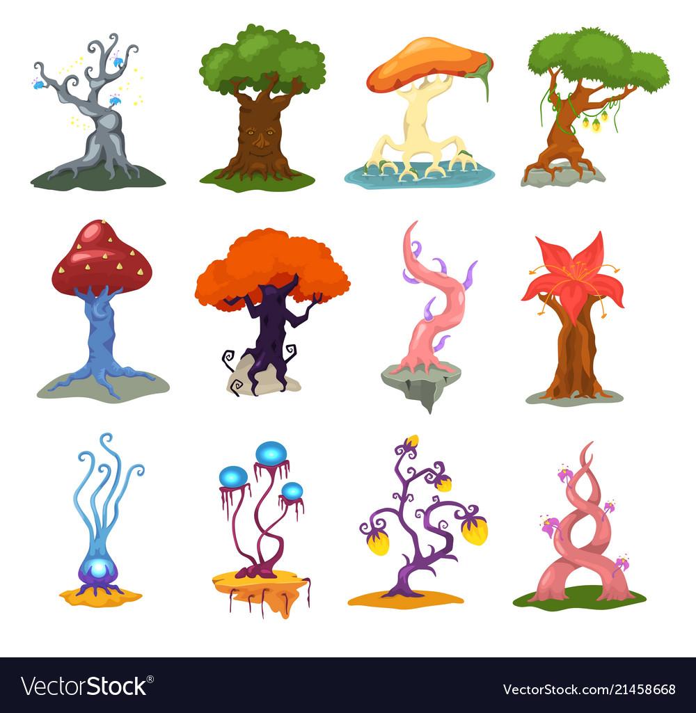 Magic tree fantasy forest with cartoon