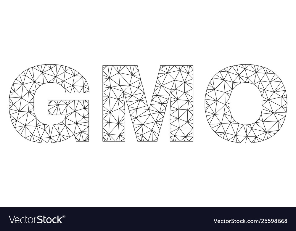 polygonal network gmo text label vector image