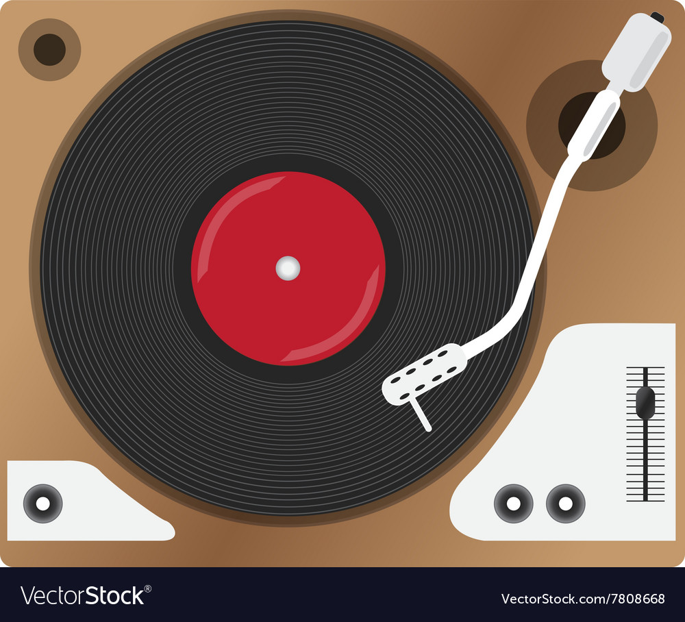Record player with vinyl record isolated