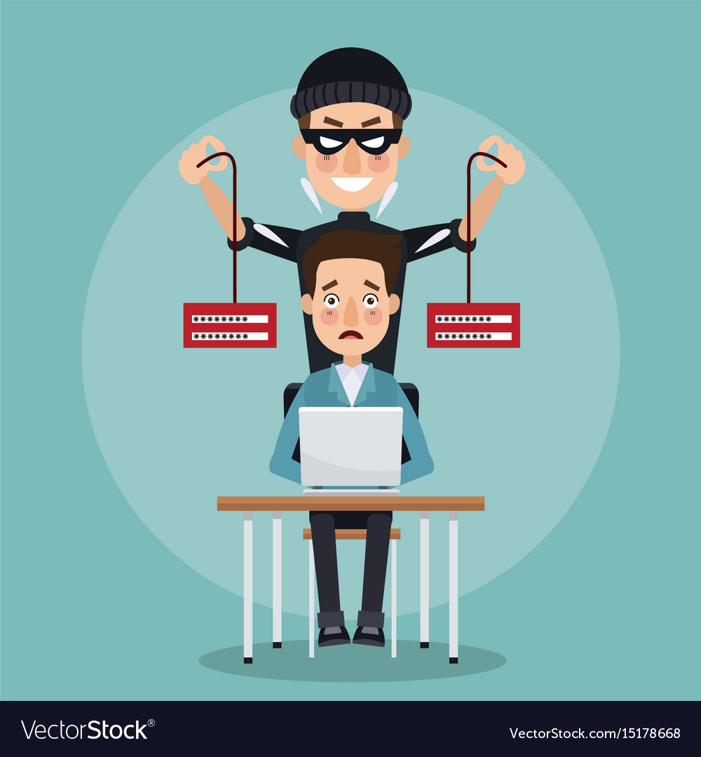 Scene color programmer man in desk with laptop and vector image