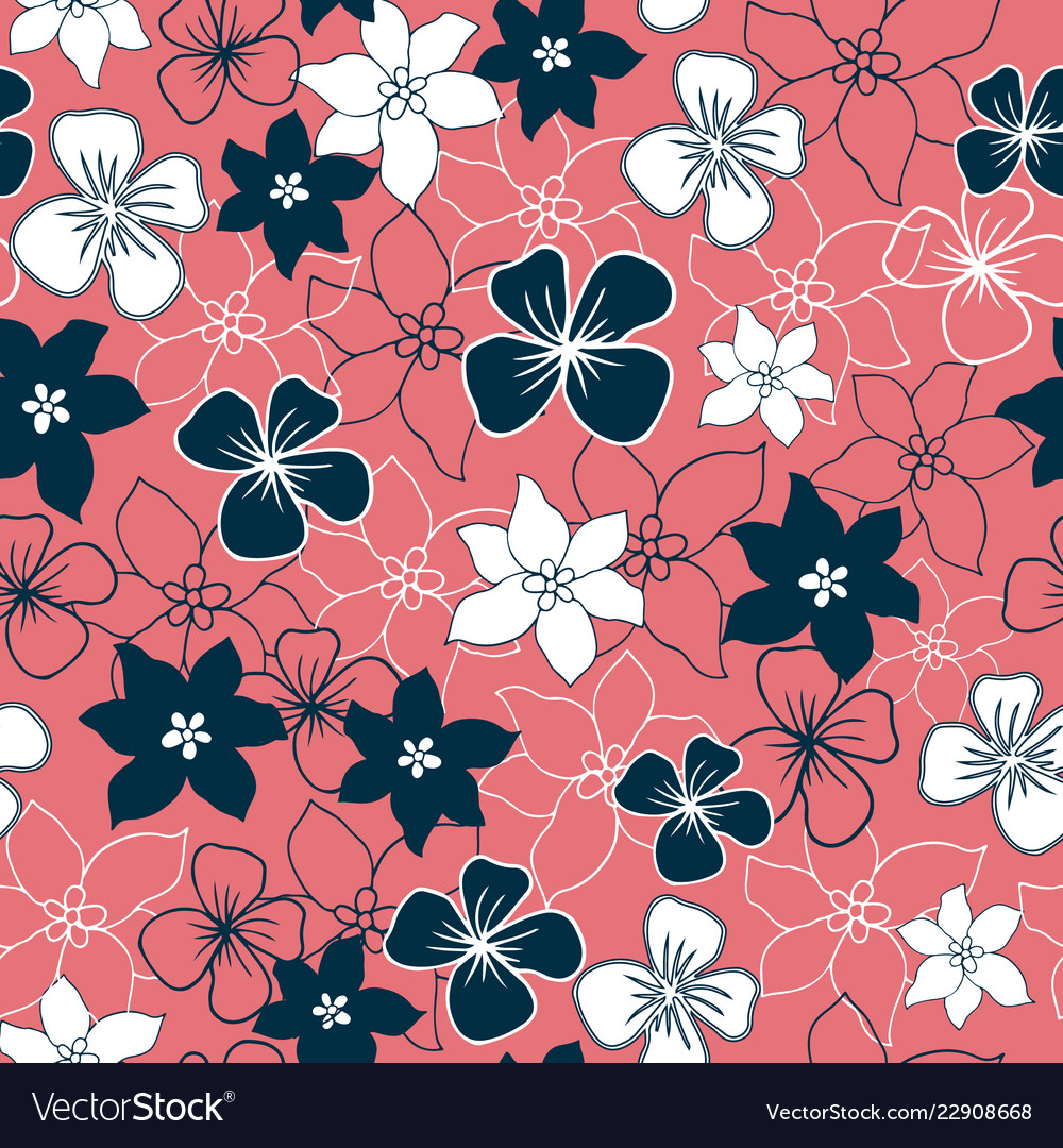 Teal and white flower mix seamless pattern