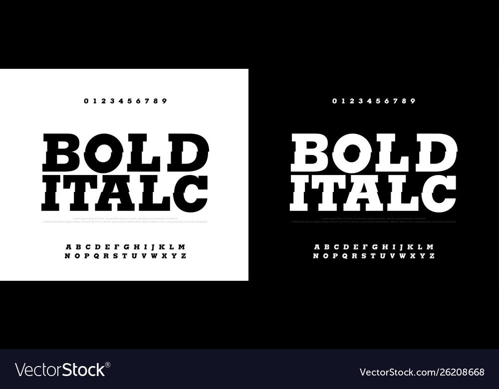 Typography bold italic font set modern bold font