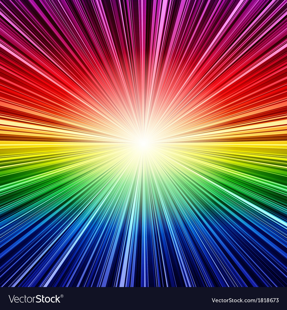 Abstract rainbow stripes burst background