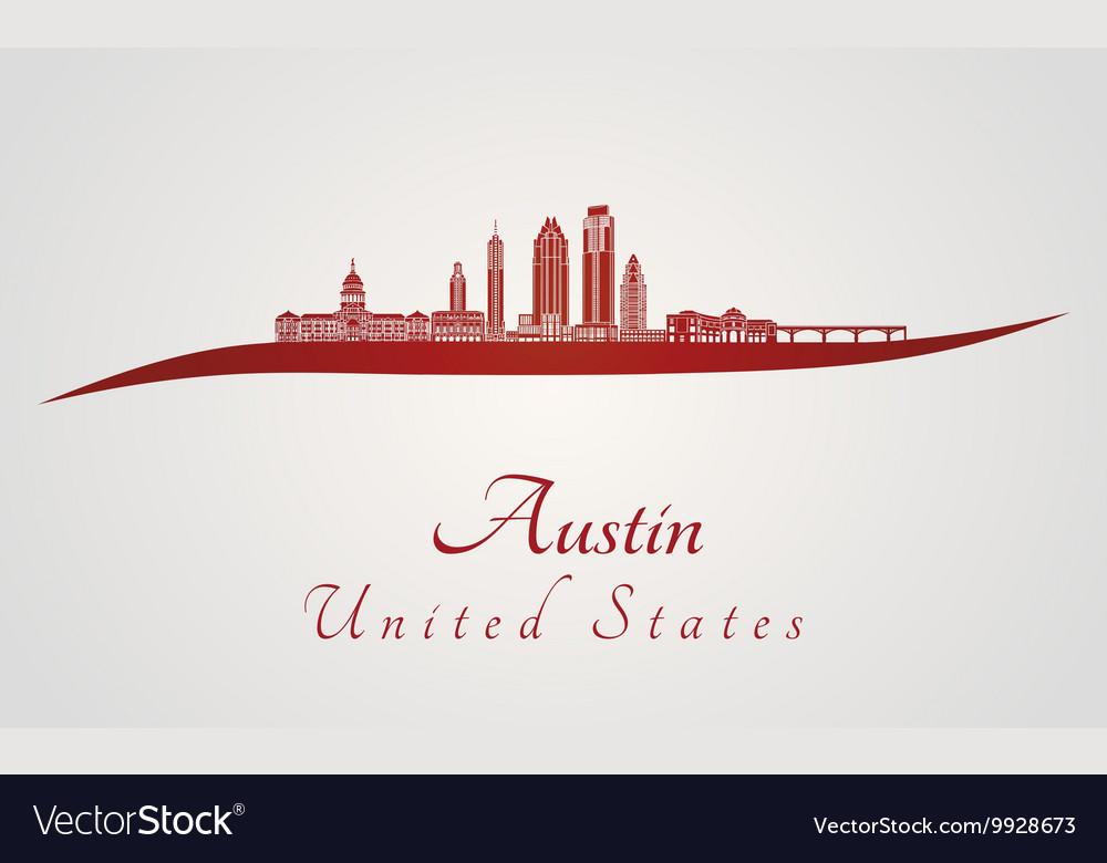 Austin skyline in red