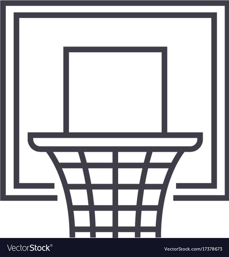 Basketball hoop flat line concept