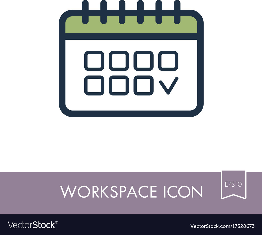 Calendar outline icon workspace sign