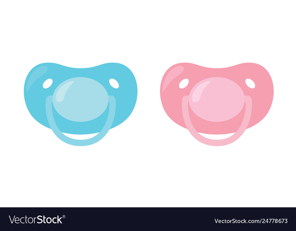 Child pacifier baby nipple set blue and pink