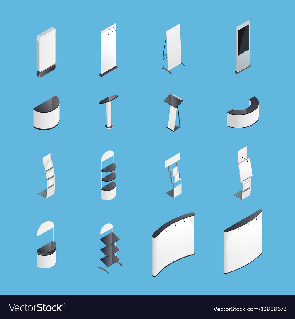 Exhibition stands isometric icons set vector image