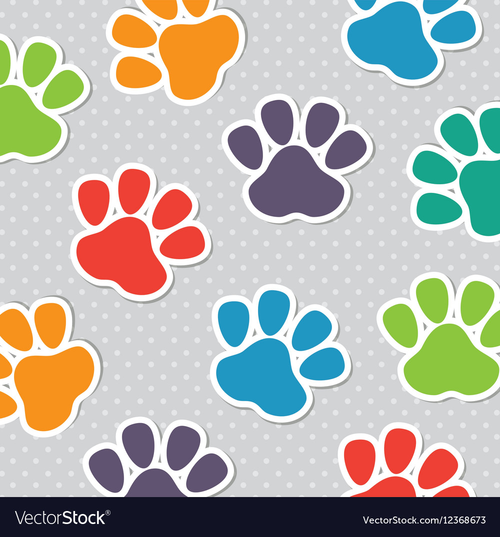 Foot print pet colors seamless pattern vector image