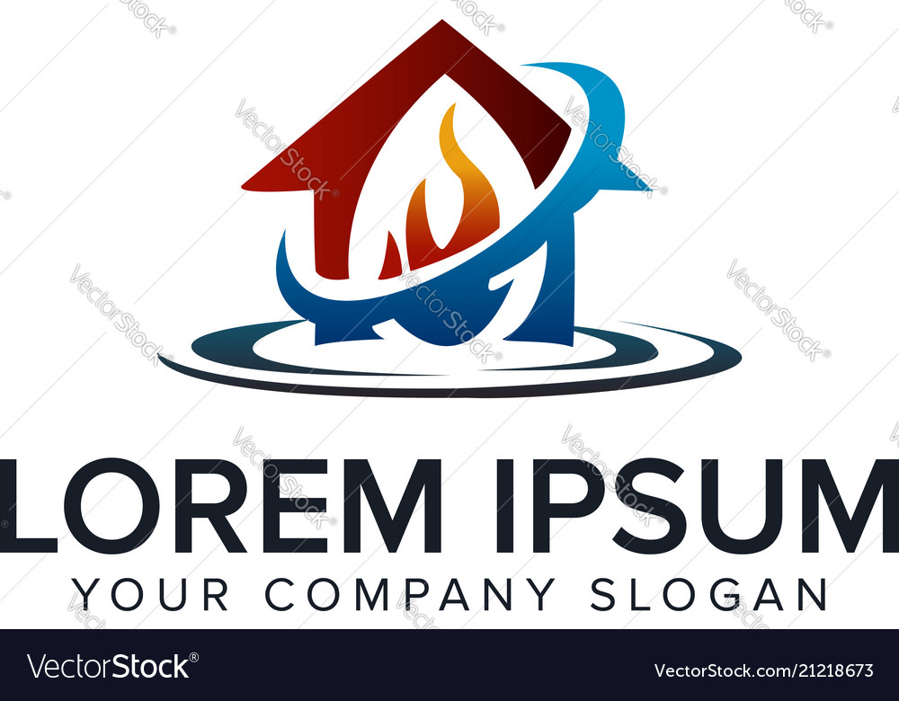 House care logo fire water design concept template