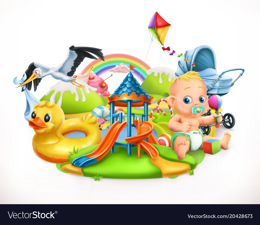 Kids and toys children playground 3d