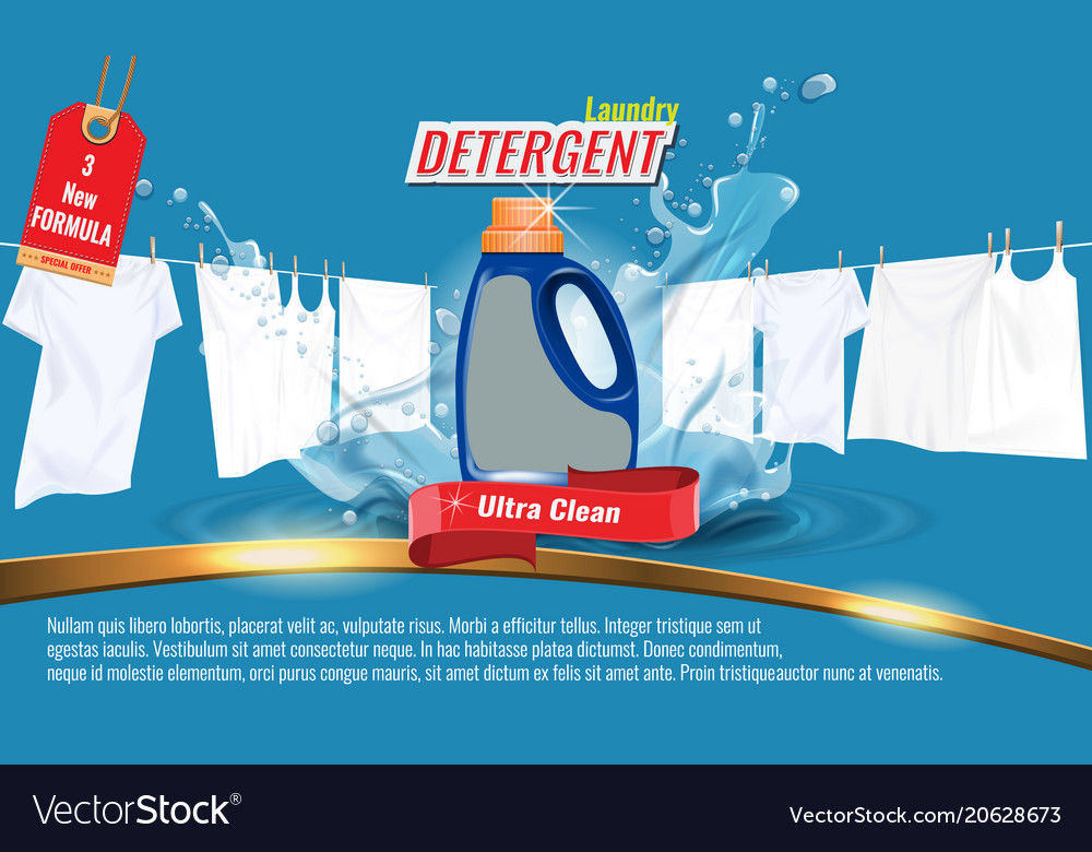 Laundry detergent ads template with package design