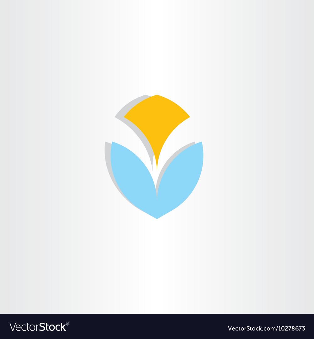 Letter v logo logotype blue yellow icon element vector image