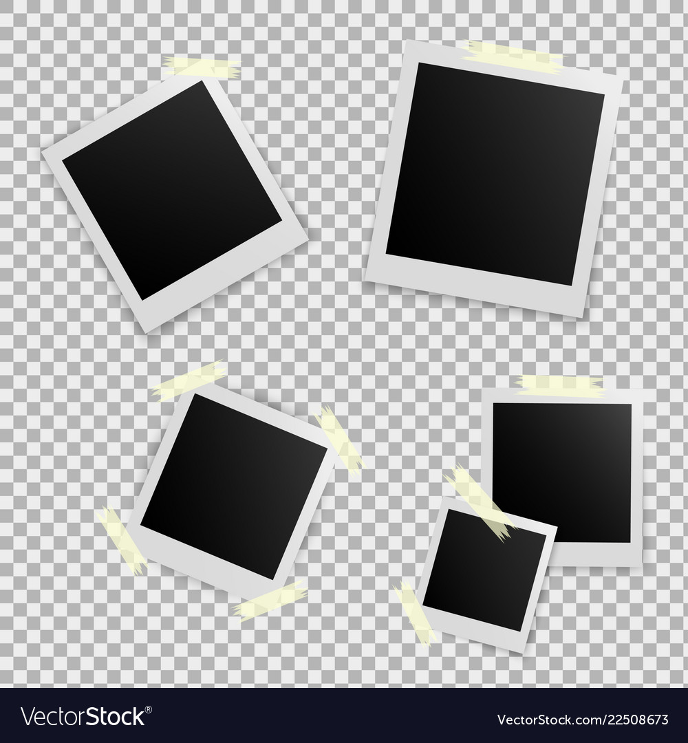 Set of template photo frame with adhesive tape