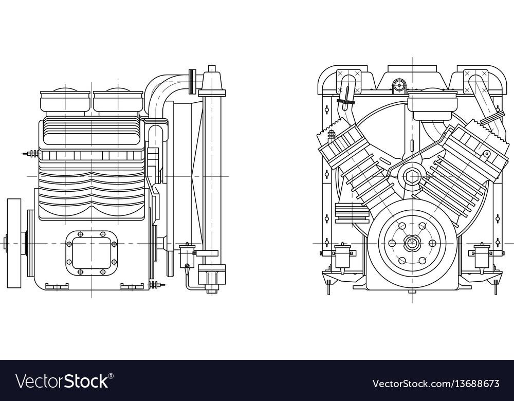 Sketch internal combustion engine