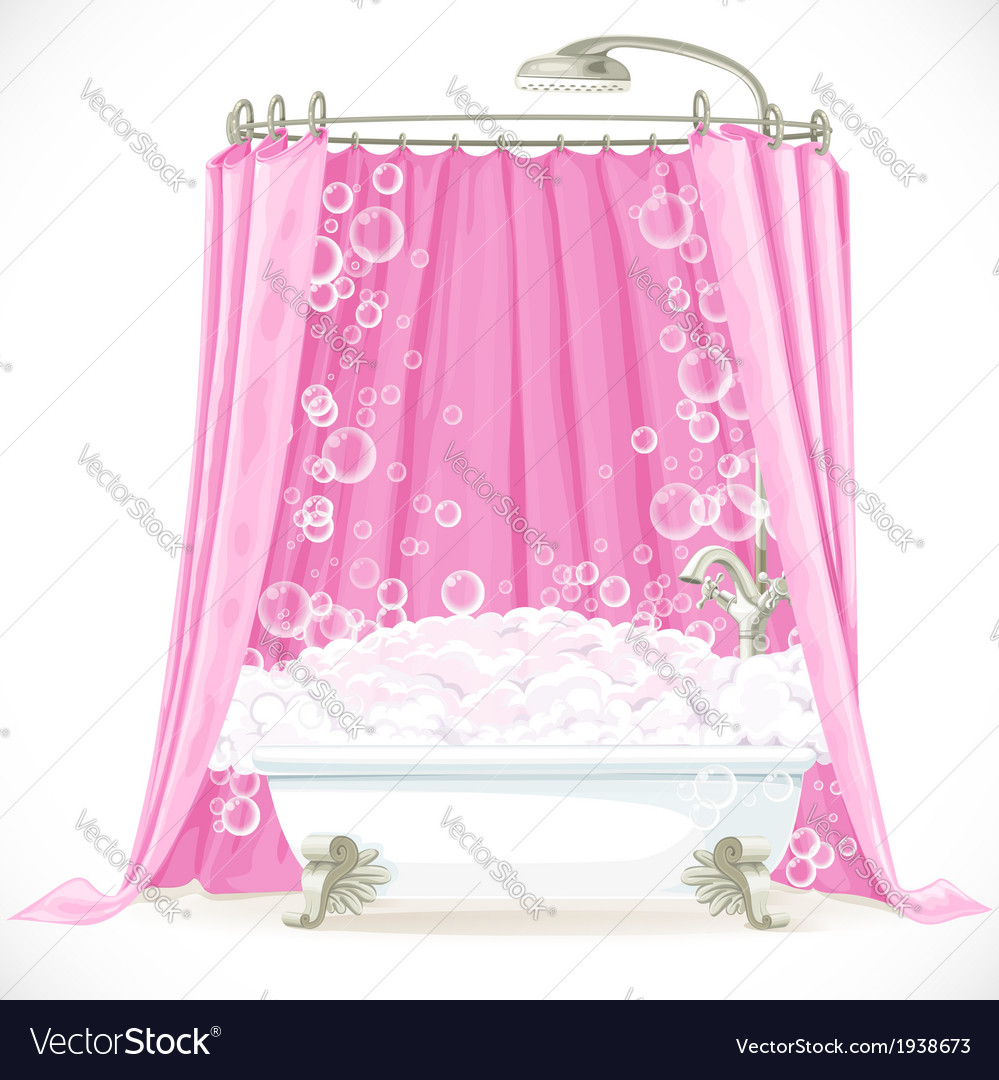 Vintage claw-foot bathtub and a pink curtain on Vector Image