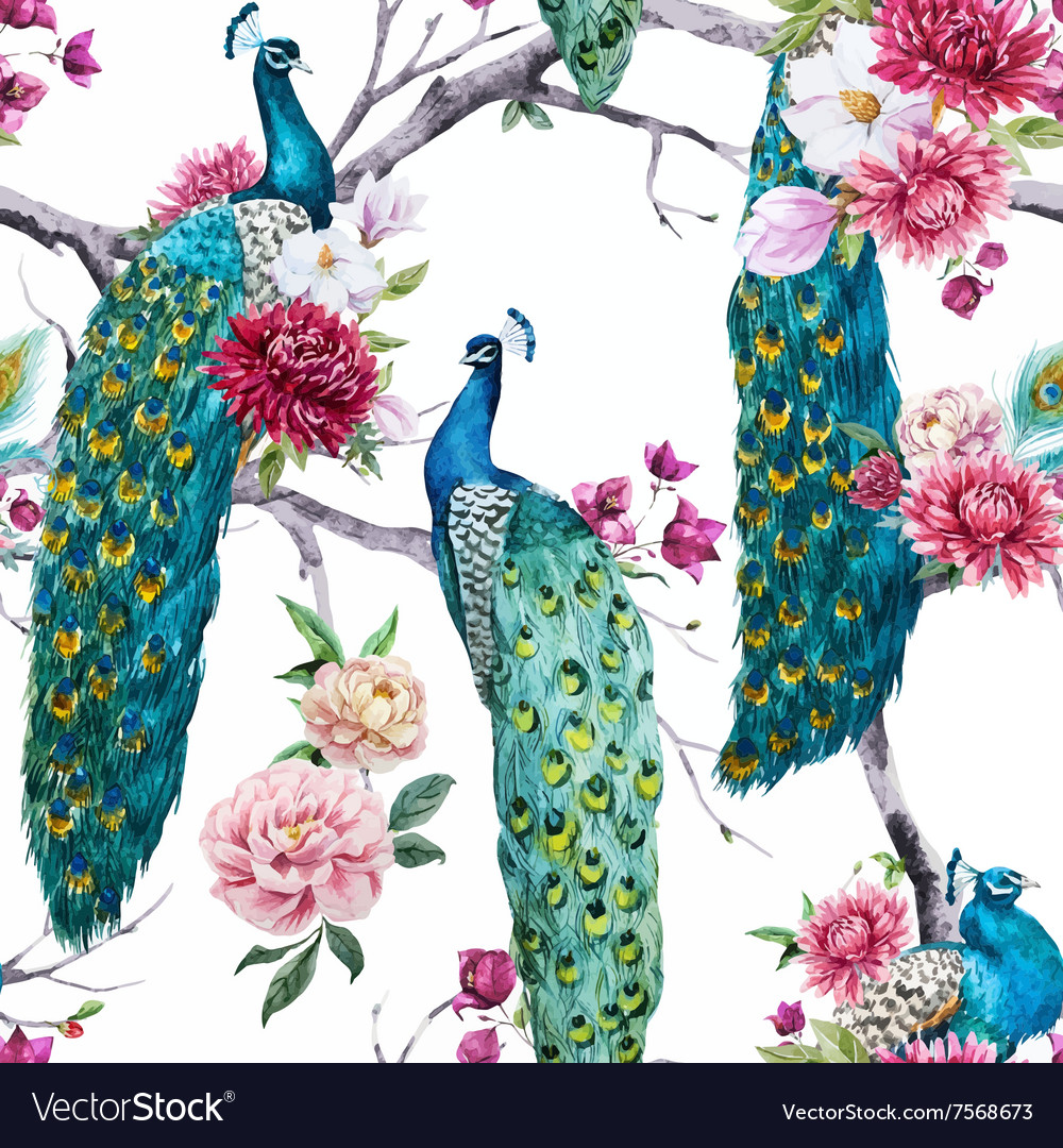 Watercolor peacock and flowers pattern