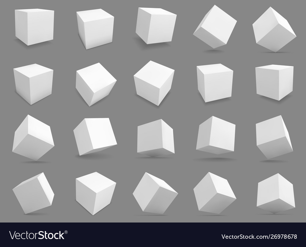 3d cubes white blocks with different lighting and