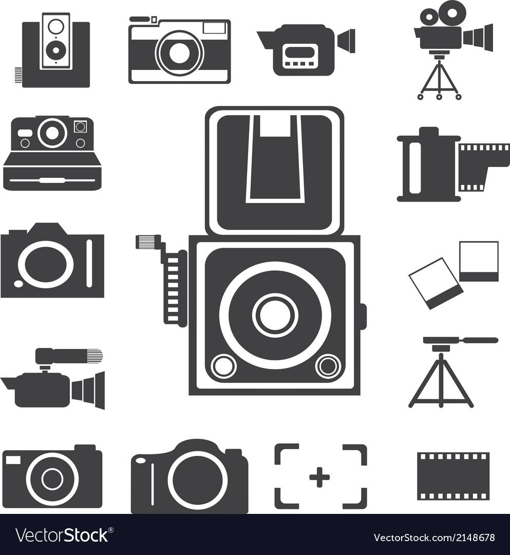 Camera new and retro icon vector image