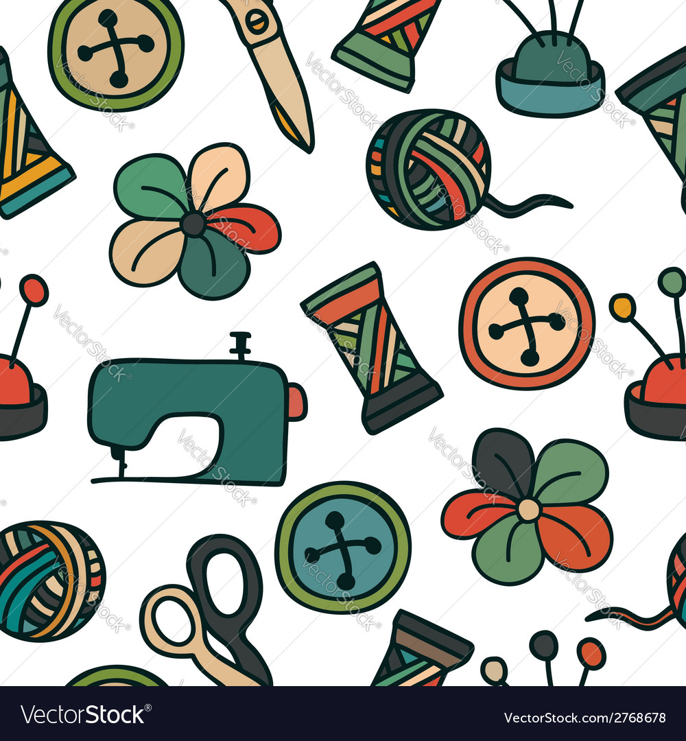 Cartoon Hand Drawn Seamless Pattern with Sewing