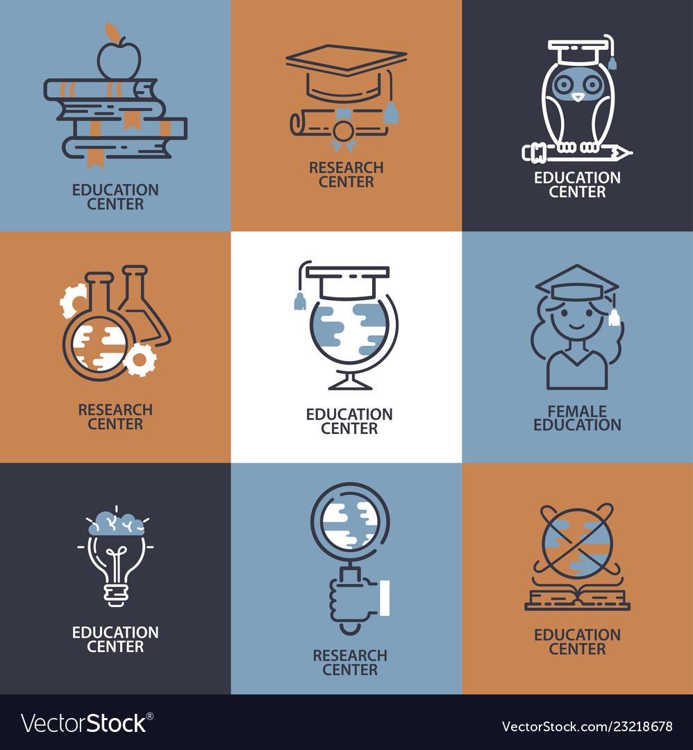 Education icons set online