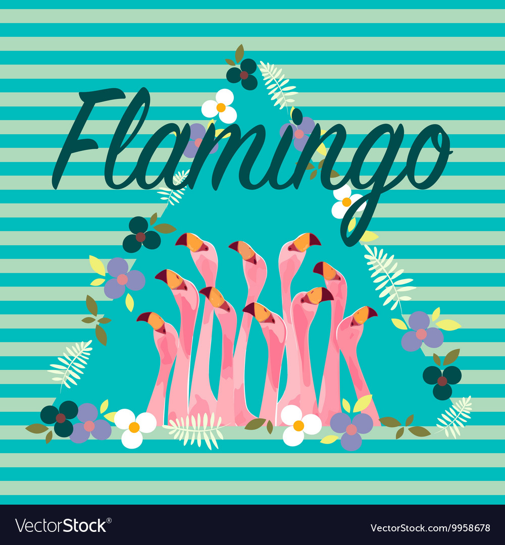 Flamingo with Tropical Flowers Background