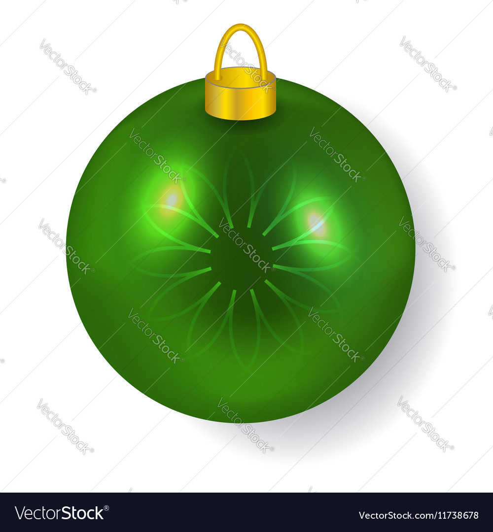 Green Christmas ball reflecting light New Year